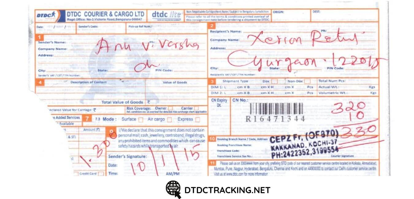 DTDC Tracking Number